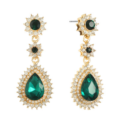 Monet Jewelry Green Round Drop Earrings