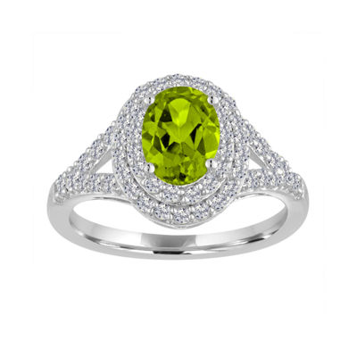 Fine Jewelry Womens Green Peridot Sterling Silver Cocktail Ring 80oY6FSN