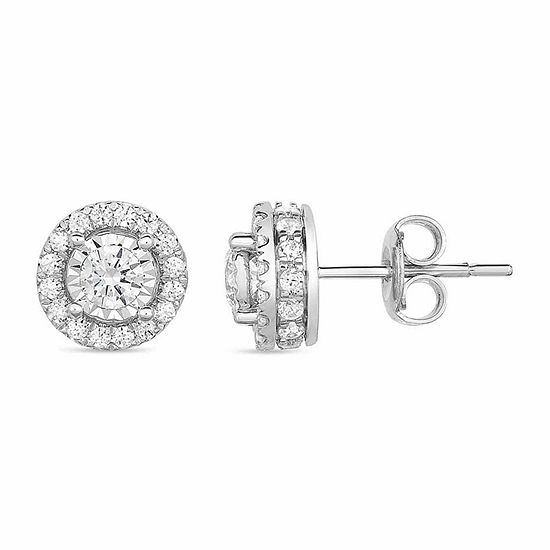 Tru Miracle 1 CT. T.W. Genuine White Diamond 10K Gold 8.8mm Stud Earrings