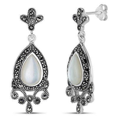 Sterling Silver Mother of Pearl Drop Earrings featuring Swarovski Marcasite