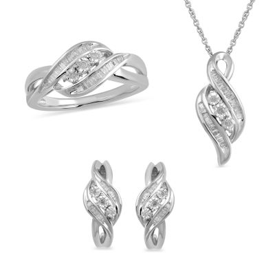 Womens 3-pc. 1/2 CT. T.W. White Diamond Sterling Silver Jewelry Set