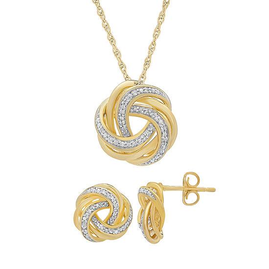 1/10 CT. T.W. Genuine White Diamond 14K Gold Over Silver 2-pc. Jewelry Set