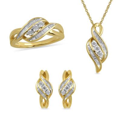 Womens 3-pc. 1/2 CT. T.W. White Diamond 14K Gold Over Silver Jewelry Set