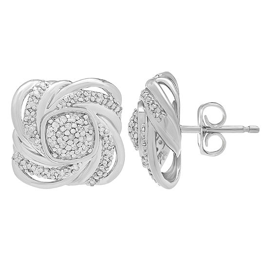 1/4 CT. T.W. Genuine White Diamond Sterling Silver Stud Earrings