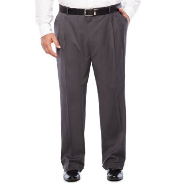 Stafford Medium Grey Travel Woven Suit Pleated Pants-Portly
