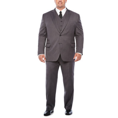 Stafford Travel Stretch Med Grey Suit Separates-Portly