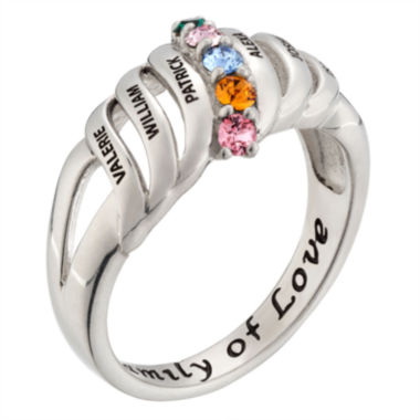 Personalized Silver Crystal Birthstone Family Ring