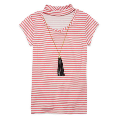 Insta Girl Gigi Neck Printed Short Sleeve with Necklace- Girls' 7-16