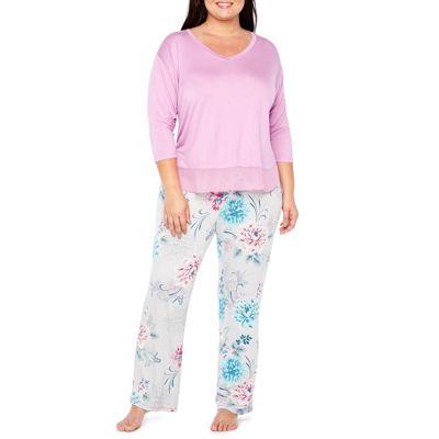 Ambrielle 3/4 Sleeve Chiffon Trim Top and  Pant Pajama Set-Plus