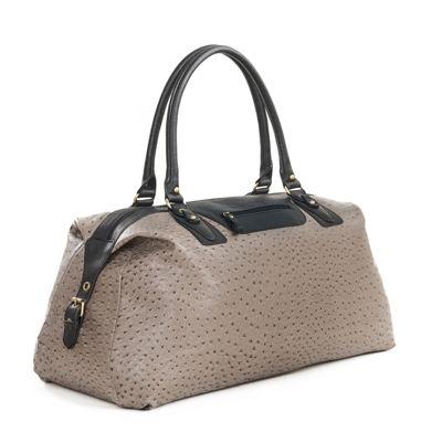 Bueno of California Ostrich Weekender Crossbody Bag