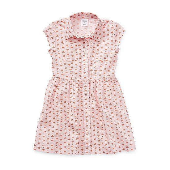 Okie Dokie Little Girls Short Sleeve Cap Sleeve Shirt Dress