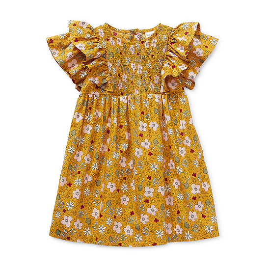 Okie Dokie Little Girls Short Sleeve Flutter Sleeve Shift Dress