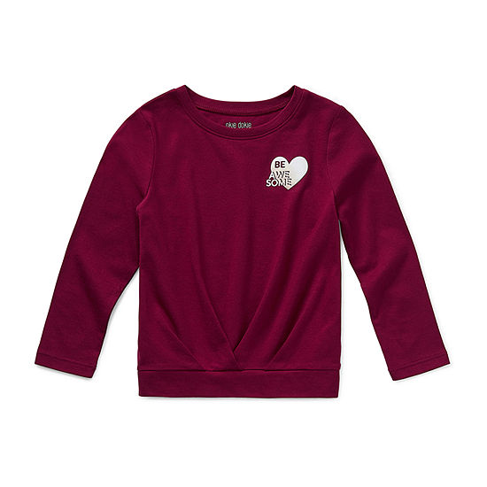 Okie Dokie Little Girls Round Neck Long Sleeve T-Shirt