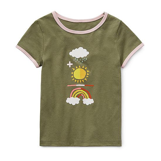 Okie Dokie Little Girls Round Neck Short Sleeve Graphic T-Shirt