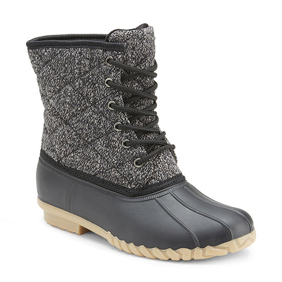 Olivia Miller Womens Duck Flat Heel Boots