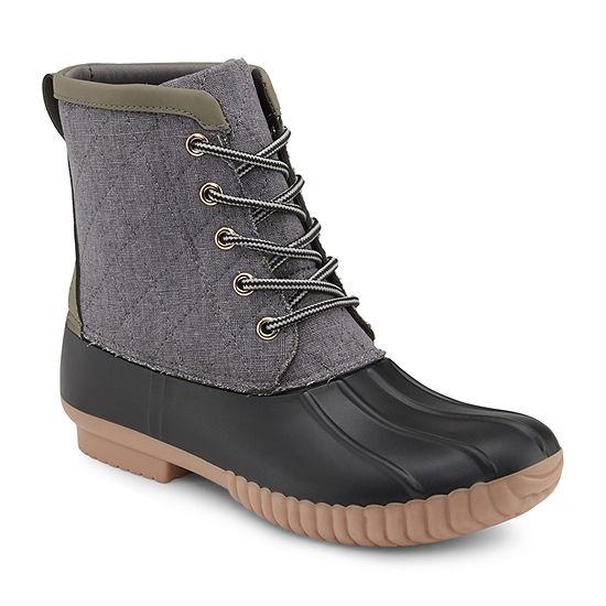 Olivia Miller Womens Duck Boots Flat Heel