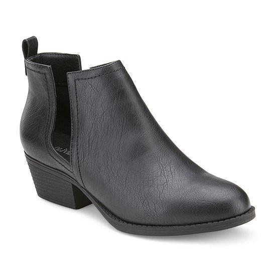 Olivia Miller Womens Stacked Heel Booties