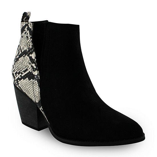 Olivia Miller Womens Booties Stacked Heel