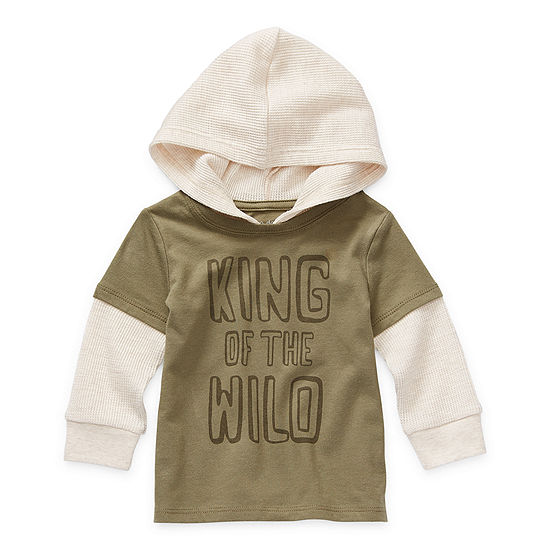 Okie Dokie Baby Boys Hooded Neck Long Sleeve Graphic T-Shirt