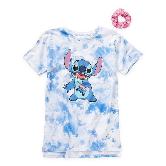 Tees With Scrunchie Little & Big Girls Crew Neck Lilo & Stitch Short Sleeve Graphic T-Shirt