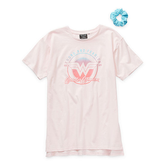 Tees With Scrunchie Little & Big Girls Crew Neck Wonder Woman Short Sleeve Graphic T-Shirt