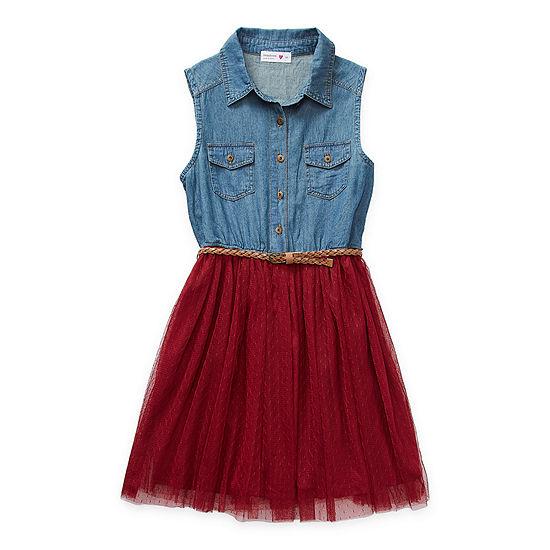 Beautees Casual Big Girls Belted Sleeveless Shirt Dress