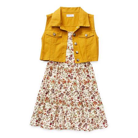 60s 70s Kids Costumes & Clothing Girls & Boys Beautees Casual Big Girls Sleeveless Dress Set Medium  Yellow $44.80 AT vintagedancer.com