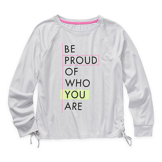 Xersion Little & Big Girls Round Neck Long Sleeve Graphic T-Shirt
