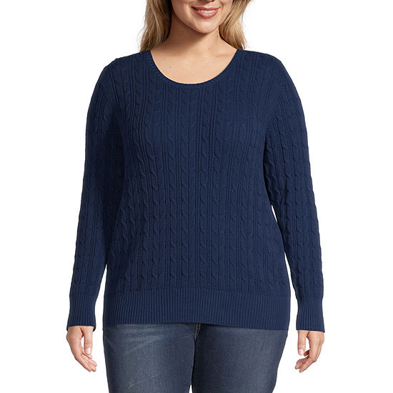 St. John's Bay-Plus Cable Womens Crew Neck Long Sleeve Pullover Sweater