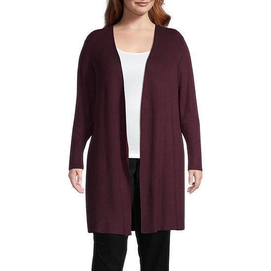 Worthington Womens Long Sleeve Cardigan-Plus