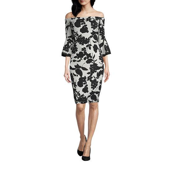 Premier Amour Off The Shoulder 3/4 Bell Sleeve Floral Sheath Dress