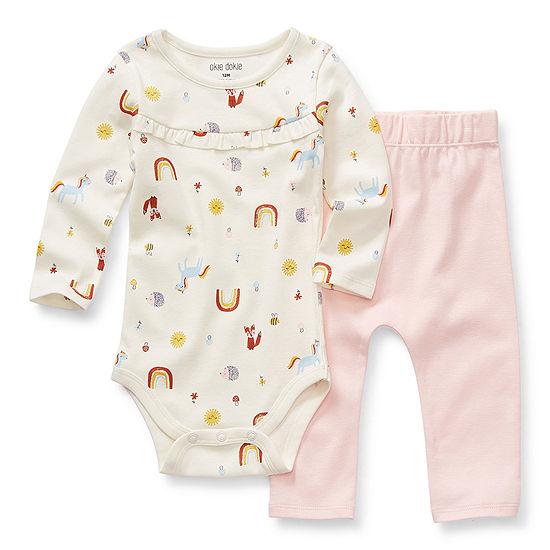 Okie Dokie Baby Girls 2-pc. Bodysuit Set