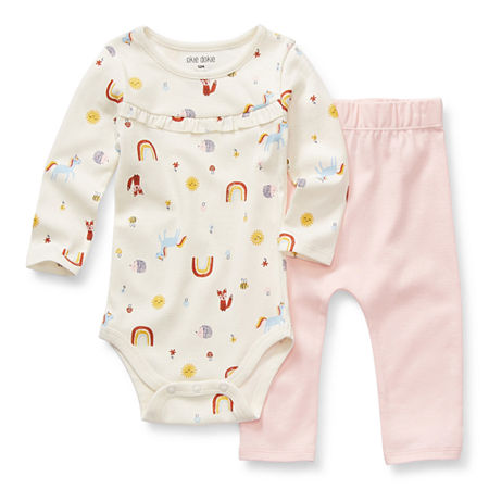 Okie Dokie Baby Girls 2-pc. Bodysuit Set, 24 Months , White