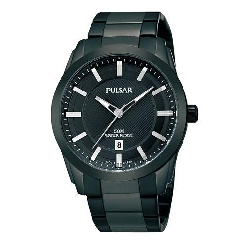 Pulsar® Mens Black Ion-Plated Bracelet Watch  PH9017