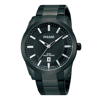 Pulsar® Mens Black Ion-Plated Bracelet Watch  PH9017