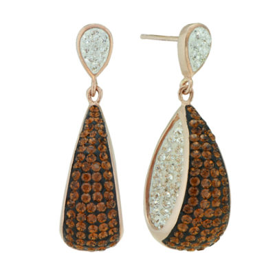 14K Rose Gold Over Sterling Silver Crystal Drop Earrings