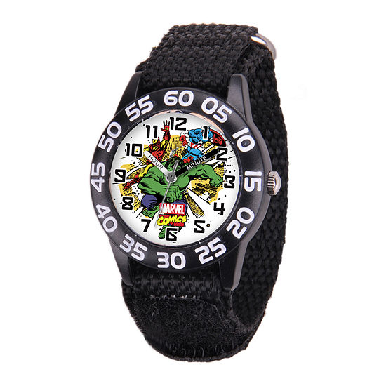Marvel® Avenger Kids Time Teacher Black Nylon Strap Watch