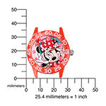Disney Minnie Mouse Kids Time Teacher Red Nylon Polka-Dot Strap Watch