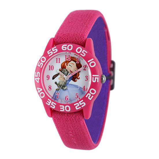 Disney Sofia Kids Time Teacher Pink Nylon Strap Watch