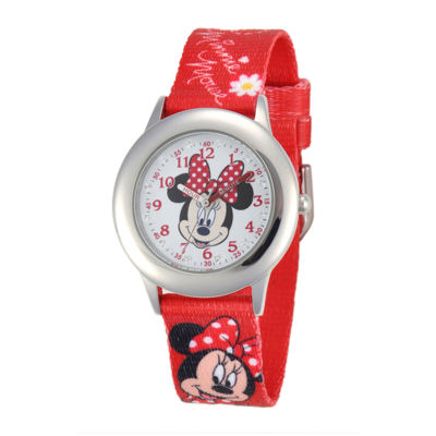 Disney Minnie Mouse Kids Time Teacher Crystal-Accent Red Nylon Strap Watch