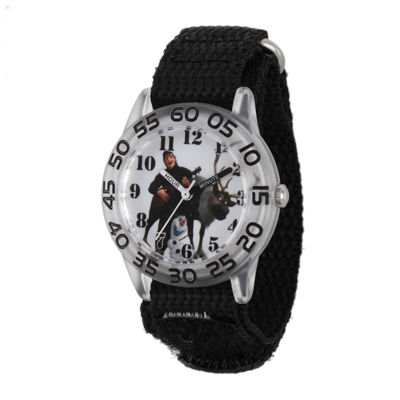 Disney Frozen Sven, Kristoff and Olaf Kids Time Teacher Black Nylon Strap Watch