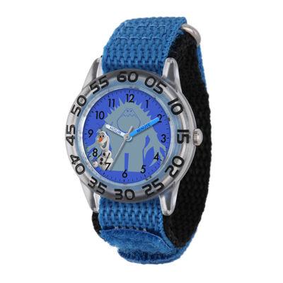 Disney Frozen Olaf and Marshmallow Kids Time Teacher Blue Nylon Strap Watch