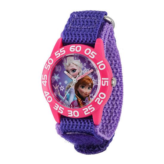 Disney Time Teacher Frozen Girls Purple Strap Watch-W001789