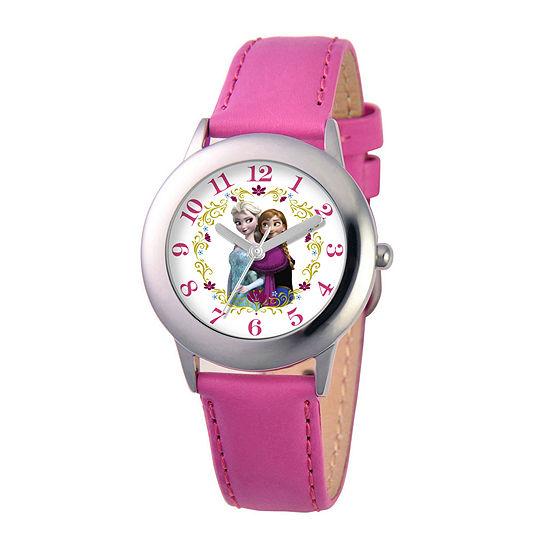Disney Frozen Elsa and Anna Kids Pink Leather Strap Watch