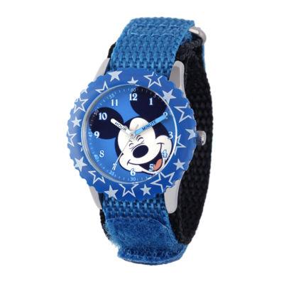Disney Mickey Mouse Kids Time Teacher Blue Nylon Strap Watch