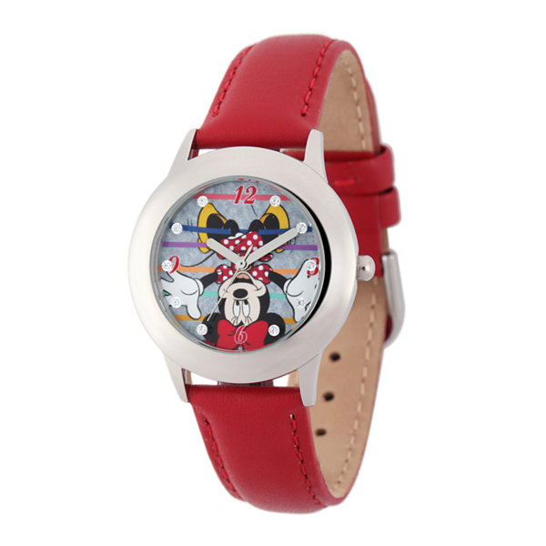 Disney Minnie Mouse Kids Crystal-Accent Red Leather Strap Watch