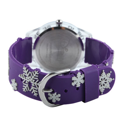 Disney Frozen Olaf Kids Time Teacher Textured Snowflake Strap Watch