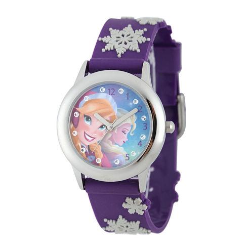 Disney Frozen Anna and Elsa Kids Crystal-Accent Textured Snowflake Strap Watch