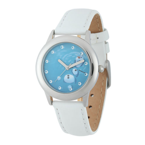 Disney Frozen Olaf Kids Crystal-Accent White Leather Strap Watch