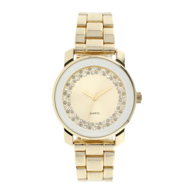 Womens Crystal-Accent Gold-Tone Bracelet Watch